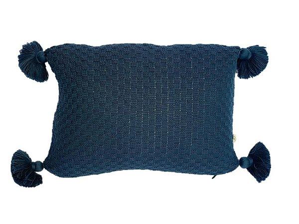 Almofada em Tricot - 30x40cm c/ franjas - LR1917 / BLUE STAR