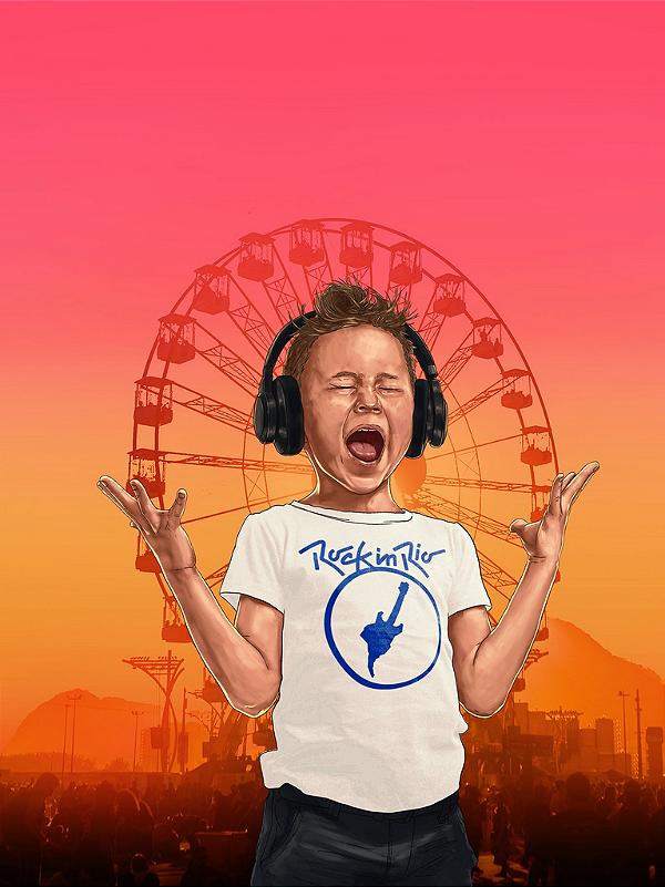 Camiseta Rock in Rio Infantil Azul