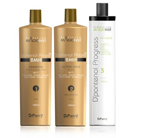 KIT DIPIERRY PROFISSIONAL D'PANTENOL PROGRESS VIT B5 ACTIVE GOLD NO FRIZZ - PASSO 1-2-3