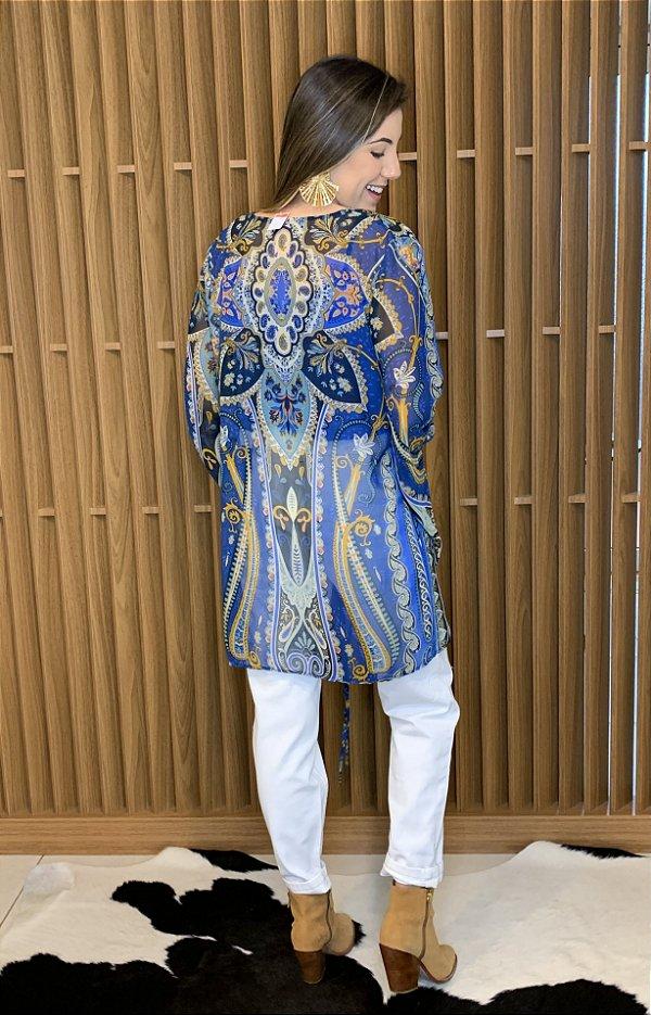 Kimono estampa azul - tam 38