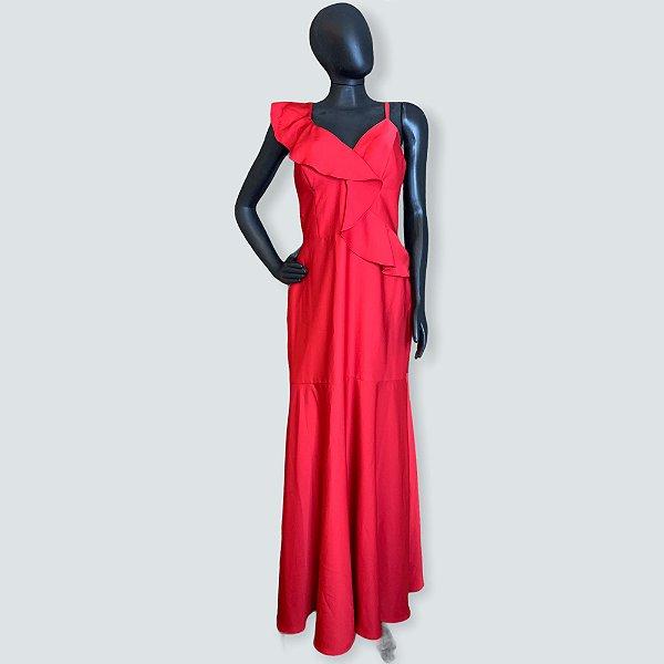 Vestido vermelho acetinado dolps - 44