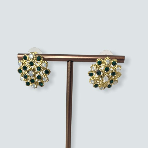 Brinco dourado pedras verdes