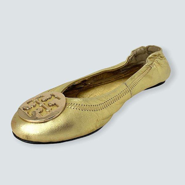 Sapatilha dourada tory burch - 36