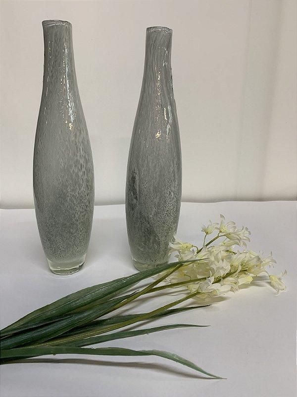 Vasos de vidro com arranjo (par)