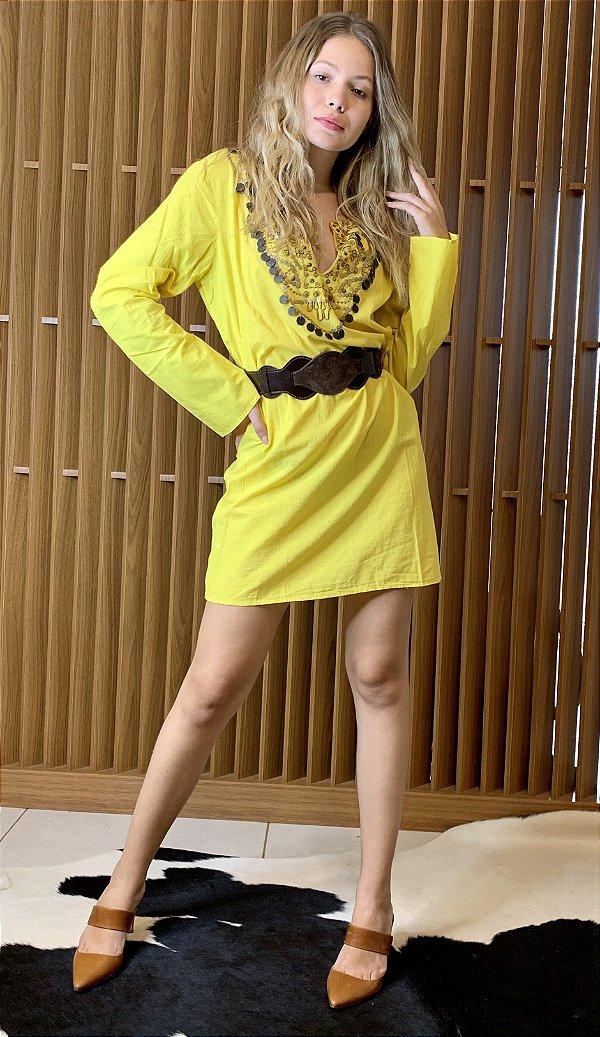 Vestido amarelo em algodão - M