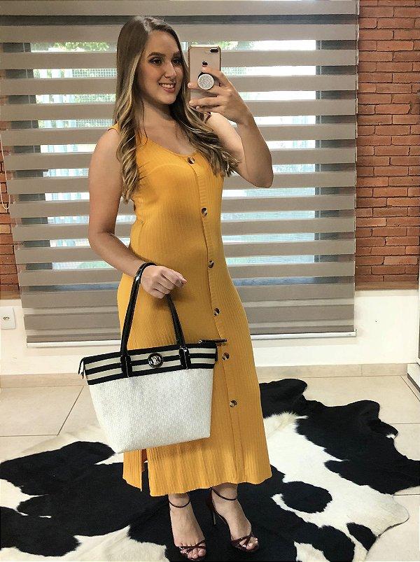 Vestido mostarda canelado