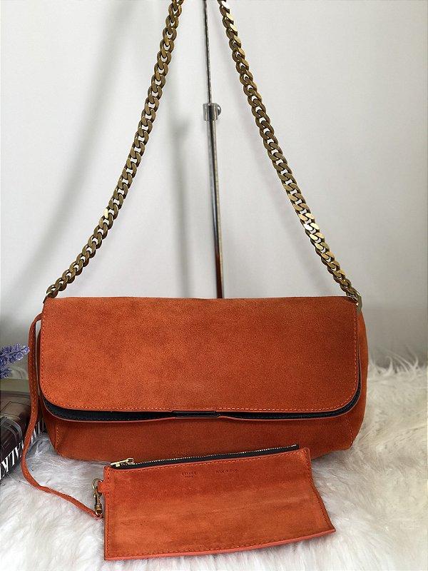 Bolsa de mão couro laranja