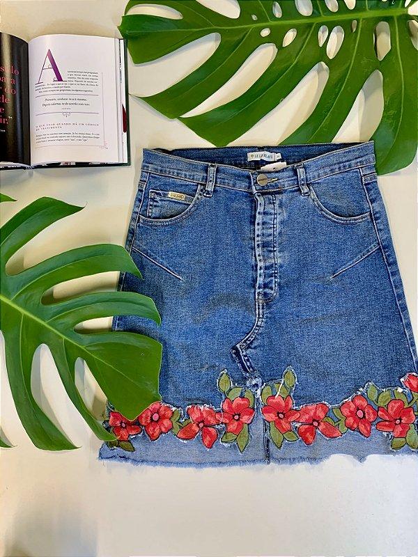 Saia jeans cós alto - 36