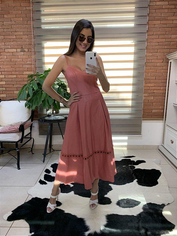 Vestido em courino rosa - M