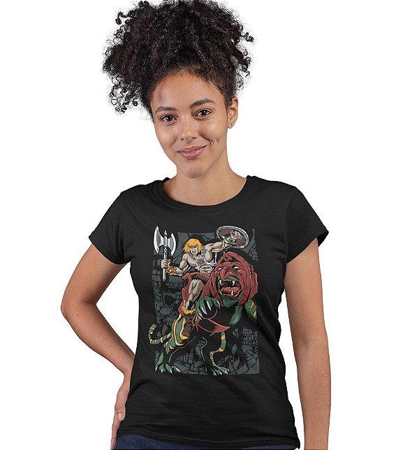 Camiseta He-Man e Gato Guerreiro