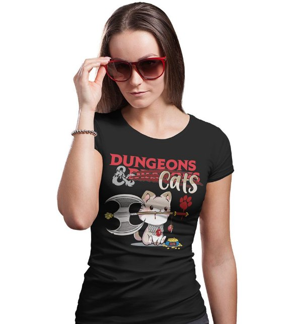 Camiseta D&D - Dungeons & Cats
