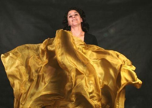 Véu em Seda Pura Pintado à Mão - Dourado Liso