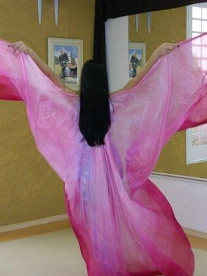 Véu Wings em Seda Pura Pintado à Mão - Rosa em Degradê