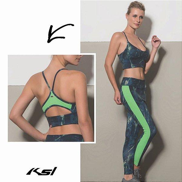 Calça e Top Neon com Textura Verde Fluor KSL