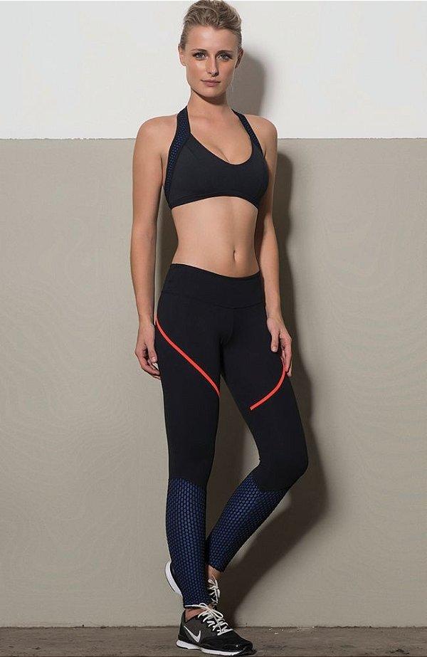 Calça e Top Preta com Textura Azul Royal KSL