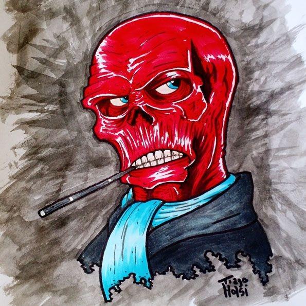 Arte Original - Caveira vermelha