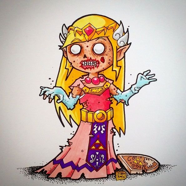 Arte Original - Princesa Zelda Zumbi