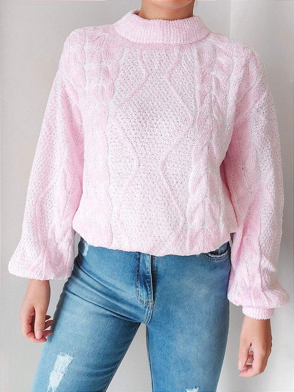 Blusa Fashion de Tricot Mousse Rosa