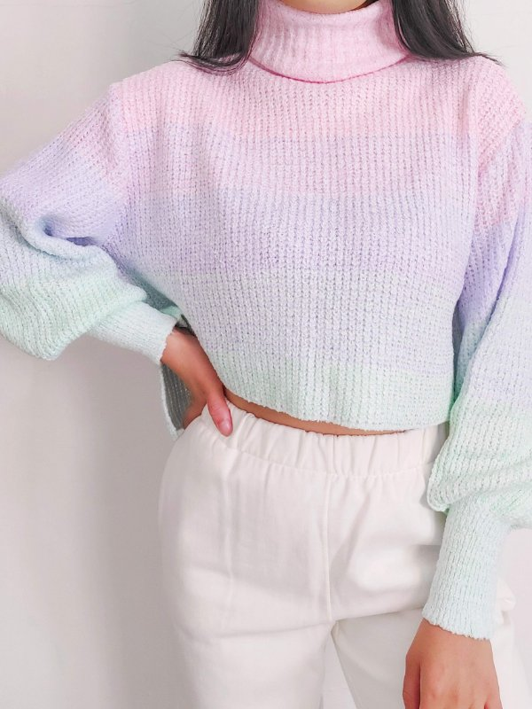 Cropped Fashion Tricot Gola Alta