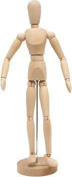 Boneco articulado madeira 14cm - moda arte manequim