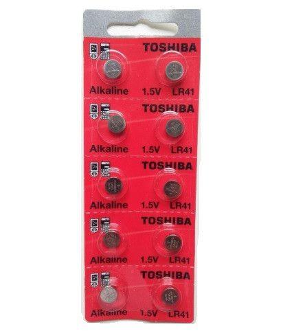 BATERIA LR41  - 1,5V CARTELA COM 10 UNIDADES TOSHIBA