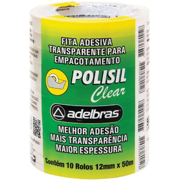 FITA ADESIVA PP 12MM X 50M POLISIL TRANSPARENTE  ADELBRAS
