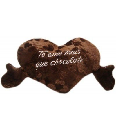 ALMOFADA 30CM CORACAO CHOCOLATE