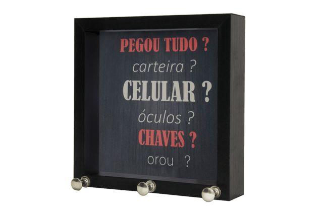 P.CHAVE 12X12CM FRASES PRETO