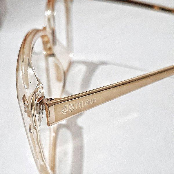 Óculos de Grau Feminino Dourado Transparente  - Armação de Óculos de Grau Feminino   Ótica Online