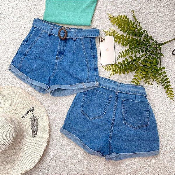Shorts Jeans Cintura Alta com cinto
