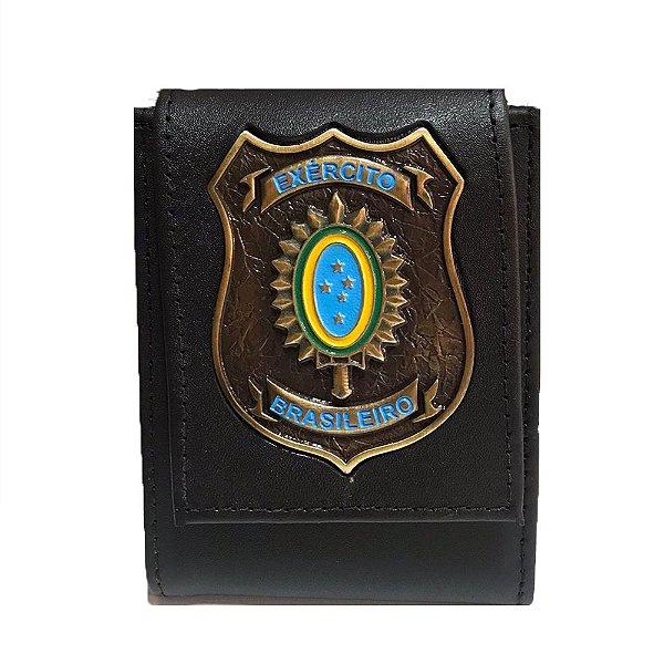 Carteira Escudo Dourado Brasão Exército Brasileiro (Couro)
