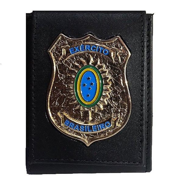 Carteira Escudo Ouro Velho Brasão Exército Brasileiro (Couro)
