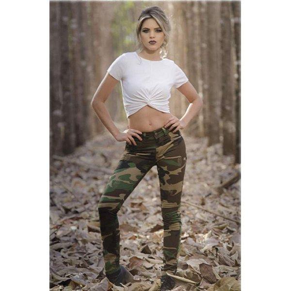 Calça Feminina Skinny Army (Black Green)