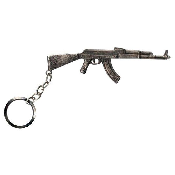 Chaveiro AK 47 Prata Velha Bélica