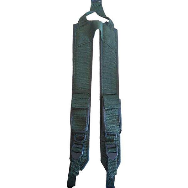 Suspensório Militar Verde 2 Bolsos (Botão)