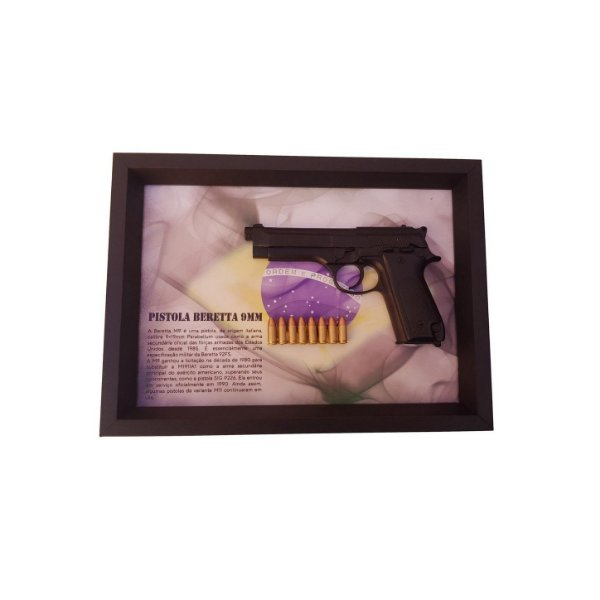 Quadro Moldura Decorativa (Beretta 9mm)