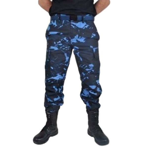 Calça Tática Camuflada Azul GCM (Fecho Velcro - 2 Bolsos)