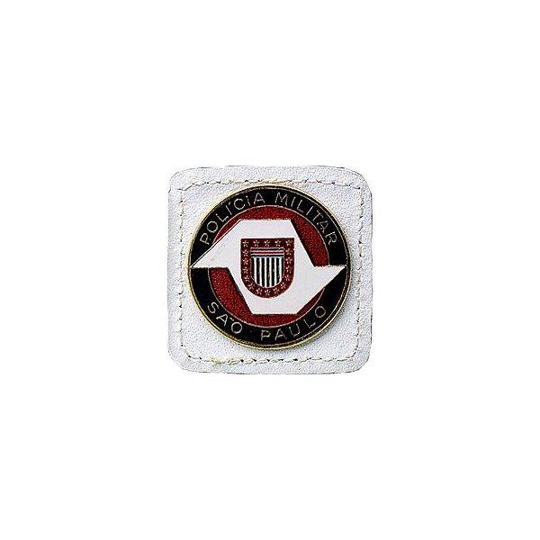 Broche Laurea 1° Grau PM/SP Couro (Branco/Ouro)