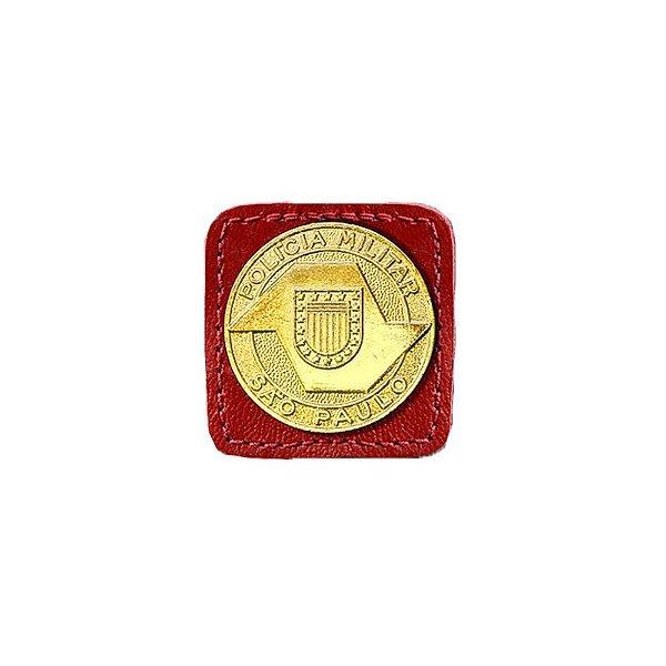 Broche Laurea 2° Grau PM/SP Couro (Vermelho/Ouro)