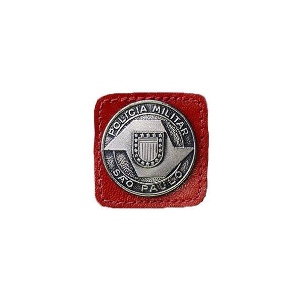 Broche Laurea 3° Grau PM/SP Couro (Vermelho/Níquel)