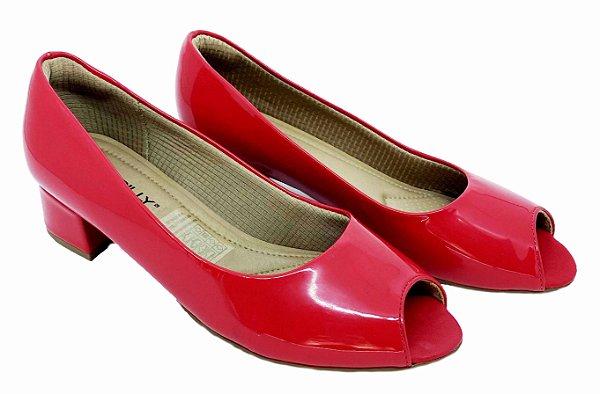 Peep Toe Feminino Piccadilly Napa/Verniz 114001