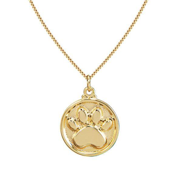 Gargantilha da coleção PET com a marca de patinha em semi joia em banho de ouro 18k