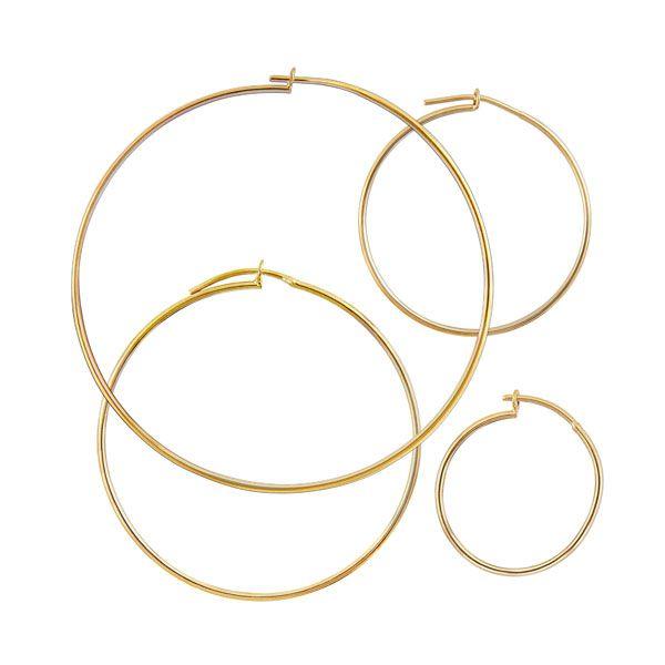 KIT DE 3 ARGOLAS LISAS em semi joia banhado em ouro18k
