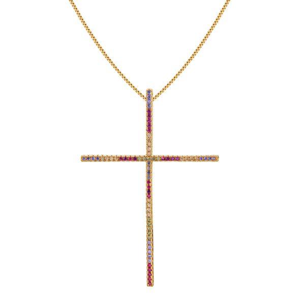 """Gargantilha Cruz  """"CRISTALINO"""" com microzircônias coloridas em semi joia banhado em ouro18k"""