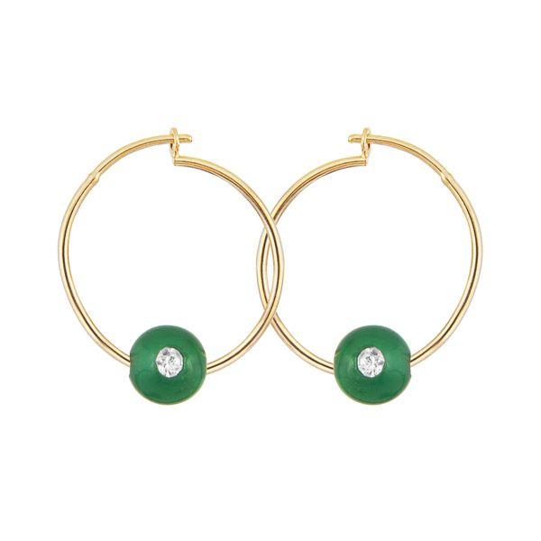 Par de brincos argolas finas e lisas banhado em ouro 18 k com ágatas verdes e zircônias
