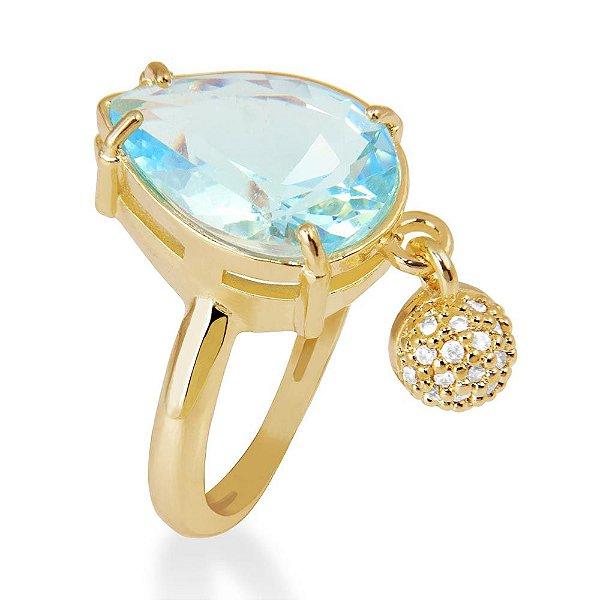 Anel aberto banhado em ouro18 k e zircônias brancas e azul cor topázio
