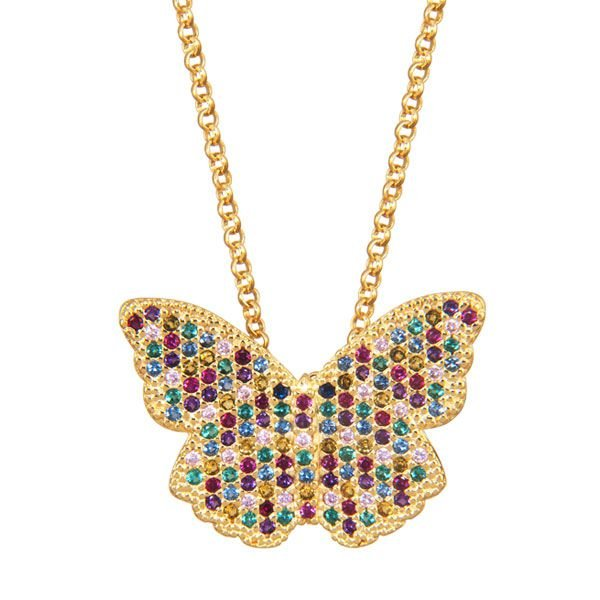 """Gargantilha borboleta """"CRISTALINO"""" com zircônias coloridas em semijoia banhado em ouro 18k"""