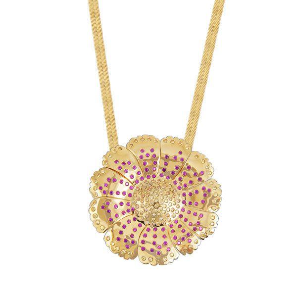 Gargantilha flor com pino de alfinete para ser usada como broche de zircônias, semijoia banhada em ouro 18k