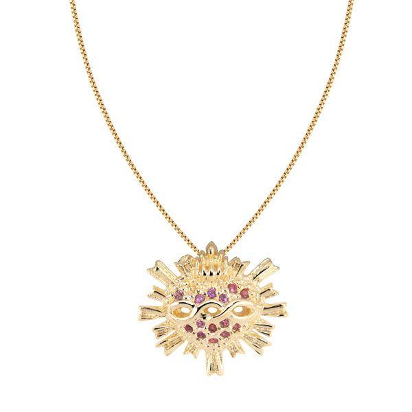 """Gargantilha sagrado coração da coleção """"CRISTALINO"""" com microzircônias coloridas em semijoia banhado em ouro 18k"""
