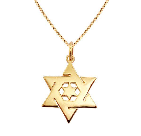 Gargantilha de Estrela de David em semijoia banhado em ouro 18k